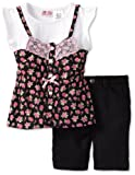 Young Hearts 2 Piece Lace Ribbon Blouse And Short Set