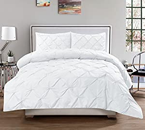 Sweet Home Collection 3 Piece Luxurious Pinch Pleat Comforter Set, Full/Queen, White