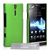 Green Hard Hybrid Back Case Cover For The Sony Ericsson Xperia S LT26i With Screen Protector Film And Grey Micro-Fibre Polishing Clothby Yousave Accessories