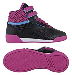 Reebok V63072 Kids Freestyle Hi Shoe, Black/Charged Pink/California Blue/White - 13