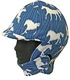 Fleece Equestrian Riding Helmet Cover - Blue Horse Fleece