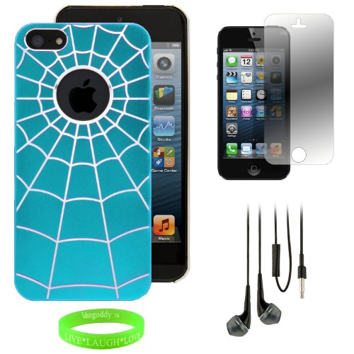 Group Set - Rear Tough Slim Spider Web Art Cover Plate Shell + Black Handsfree Earphones W/ Mic + Clear Screen Protector Film For Apple Iphone 5 Lte 4G // Baby Sky Blue & Silver front-461023