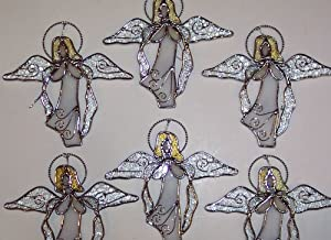 6-Piece Set Stained Glass 5 inch White Sun Catcher Angels [9073-34]