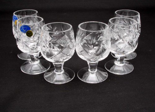 SET of 6 Russian CUT Crystal Shot Glasses on Short Stem 50ml Hand Made (Small Shot Glasses With Stem compare prices)