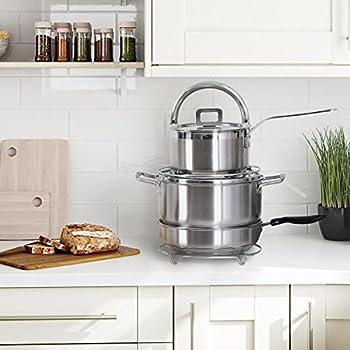 Lifewit Height Adjustable Pan Pot Organizer Rack, 5-Tier Kitchenware Cookware Holder Hanger Shelves Kitchen Cabinet Worktop Countertop Storage Solutions, Stainless Steel