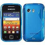 Silikon Hülle Samsung Galaxy Y S5360 - Blau - PhoneNatic TPU Case Silikon Cover Hülle Schutzhülle + Schutzfolie