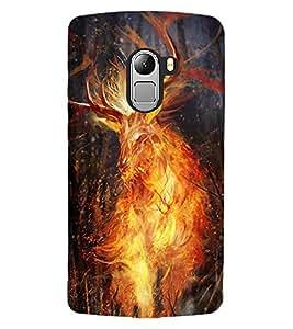 ColourCraft Flaming Deer Design Back Case Cover for LENOVO VIBE X3 LITE