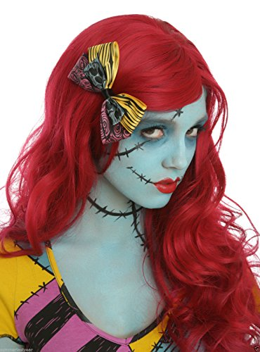[NEW! The Nightmare Before Christmas Sally Rag Doll Wig & Hair Bow For Cosplay Costume] (Wine Inspired Halloween Costumes)