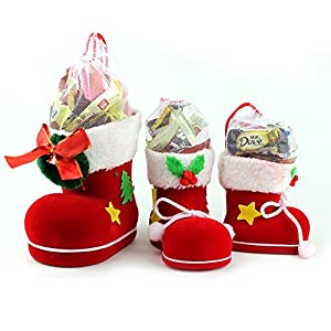 logas Xmas Candy Boots Bag Christmas Tree Decoration Ornaments Red Stocking Kids Gifts