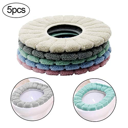 Alpurple 5 Pcs Soft Bathroom Toilet Seat Cover Pads,Thicker and Stretchable Fibers Toilet Seat Covers, Warmer Cushioned Lid Covers