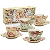 Gracie China Rose Chintz 2-Ounce Porcelain Espresso Cup and Saucer with Butterfly Handles, Set of 4