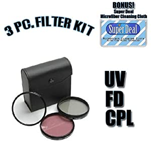 CLASSIC High Resolution 3-piece Filter Set (UV, Fluorescent, Polarizer) For The Olympus E-520, E-510, E-500, E-420, E-410, E-400, E-330, E-30, E-3, E-300, E-1 Digital SLR Cameras Which Have Any Of These (14-42mm, 40-150mm, 70-300mm) Olympus Lenses with Exclusive FREE Complimentary Super Deal Micro Fiber Lens Cleaning Cloth