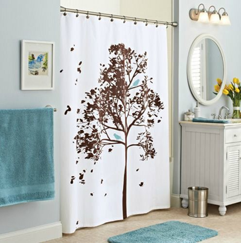 Picture Of Tree Leaves With Bird Shower Curtain This