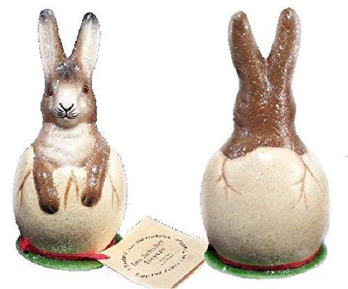 Ino Schaller Paper Mache Brown Bunny Rabbit in Egg Easter Candy Container