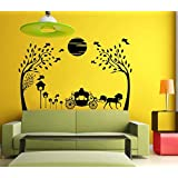 Hoopoe Decor Beautiful Nature With Horse And Jungle Wall Stickers And Decals - Black