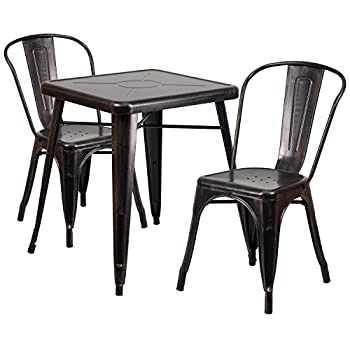 Flash Furniture Metal Indoor Outdoor Table Set with 2 Stack Chairs, Black Antique Gold