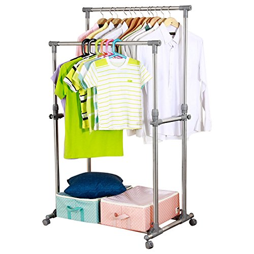 Ollieroo Premium Stainless Steel Adjustable Telescopic Rolling Clothing Rack Garment Rack (Double Rail) (Garment Rack Portable compare prices)