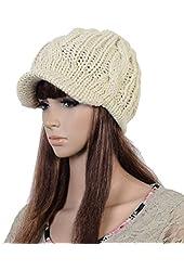 Slouchy Cabled Pattern Knit Beanie Crochet Rib Brim Newsboy Cap Hat Black