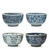 Japanese Sometsuke Bowl Set includes 4 Bowls by MIYA