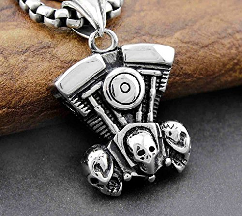 Stainless Steel Biker Motorcycle Engine V Men Pendant Necklace Chain