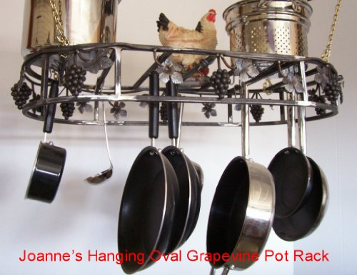 Cheap Grapevine Hanging Oval Cookware Pot Rack Black Texture (hogsilvadillo)