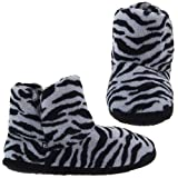 Zebra Fleece Bootie Slippers for Women
