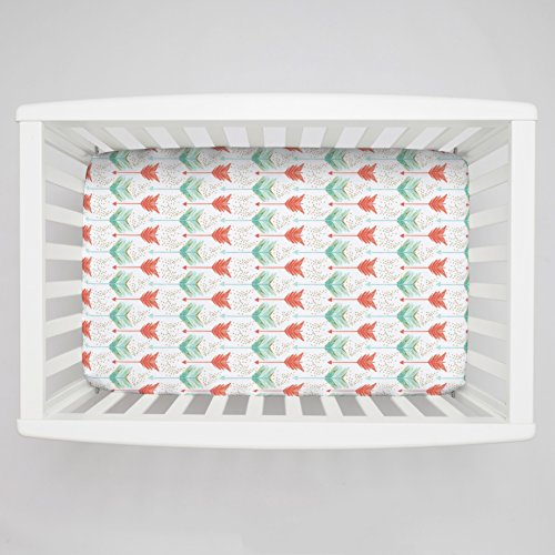 Carousel Designs Coral and Teal Arrows Mini Crib Sheet 5-Inch-6-Inch Depth (Mini Crib Sheets 6in Deep compare prices)