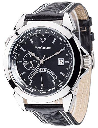 Yves Camani - YC1066-A - Montre Mixte - Quartz Analogique - Deux fuseaux horaires - Bracelet Cuir Noir