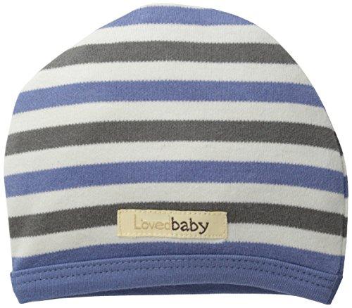 L'ovedbaby Unisex-Baby Newborn Organic Cute Cap, Slate Stripe, 6/12 Months