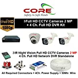 CORE 4-CH FULL HD DVR 2-MP ( 1080P). WITH 1-TB HARD DISK , 2-MP DOME CAMERA 1-PC, 2-MP BULLET 2-PC,4-CH POWER SUPPLY , 3+1 WIRE ROLL, WITH BNC /DC CONNECTORS COMBO PACK.
