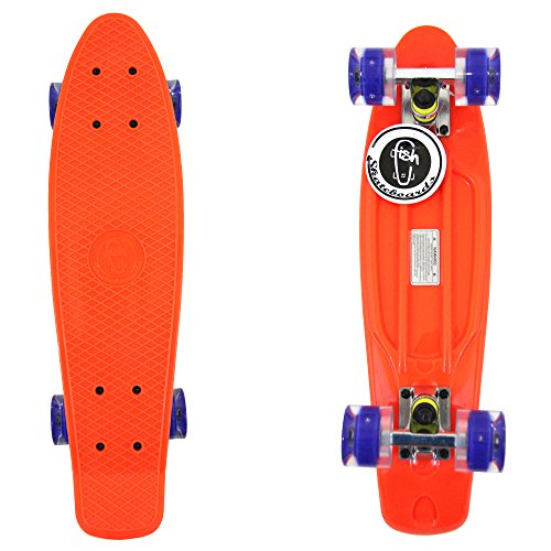 Orange Fish Skateboard Plastic Retro Blank Cruiser Silver Trucks Blue Led Wheel