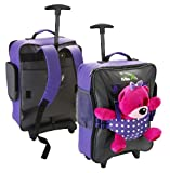 Cabin Max Bear Childrens luggage carry on trolley suitcase (Purple Spotty)- with backpack straps