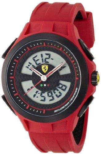 Ferrari 830019 - Reloj analógico - digital de cuarzo para hombre, correa de silicona color rojo (cronómetro, luz)