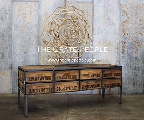 New Old Stock, 8 Crate Console -- Vintage Wood Crates and Barn Wood - Custom Crate Furniture