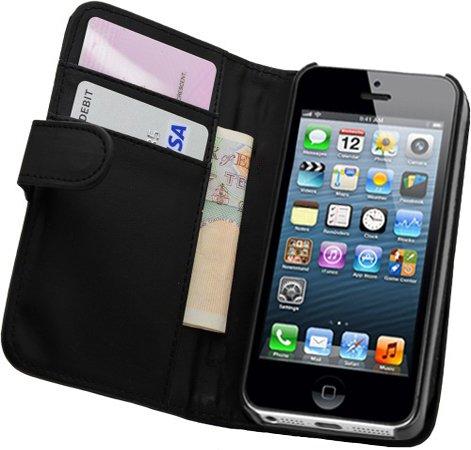 Membrane - Nera Portafoglio Custodia per Apple iPhone 5 / 5G / 5S - Flip Case Cover + 2 Pellicola Protettiva