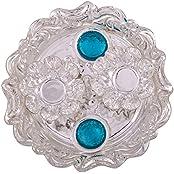 German Silver Plated Pooja Plate Pooja Thali Pooja Articles Dealer Silver Wilver Silver Plated Roli Chawal Aquamarine...