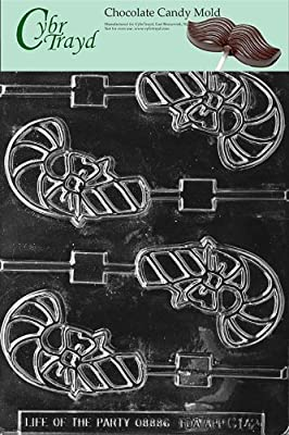 Cybrtrayd C142 Candy Cane Lolly Life of the Party Chocolate Candy Mold with Exclusive Cybrtrayd Copyrighted Chocolate Molding Instructions