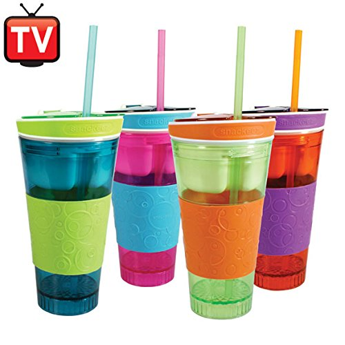 Snackeez Plastic 2 in 1 Snack & Drink Cup Six Cups 6 Assorted Colors
