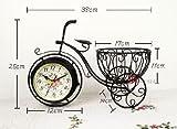 置き時計 アンティーク 自転車時計 両面時計アラビア数字 ローマ字 2カラーamnyj204-osz026 (ホワイト)