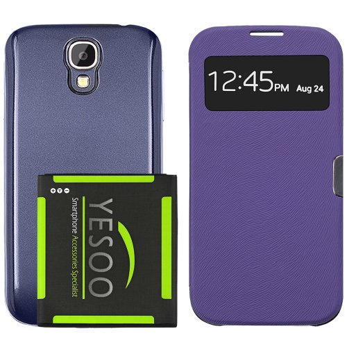 YESOO™ SMART VIEW Protective Case Cover With 5200mAh NFC Support Extended Battery And BLUE Back Cover For Samsung Galaxy S4 SIV i9500 (S-View: Purple)