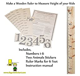 Personalized DIY Growth Chart Ruler Decal Kit for Wall or Do-It-Yourself Project for Custom Large Wooden Ruler to Measure Children Growing