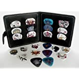 Guitar Pick Wallet + 12 Celluloid Picks/Plectrums (Random sets of Colours/Designs - 3 each of 4 thicknesses)