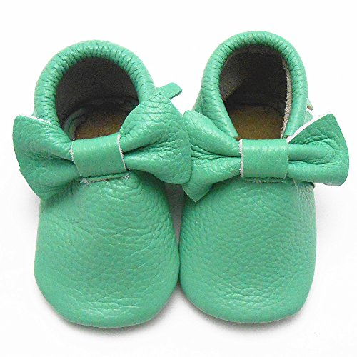 Sayoyo Baby Light Green Bow Tassels Soft Sole Leather Baby Shoes Baby Moccasins (3-6 months , Light green)