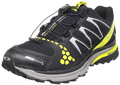 Salomon Men's XR Crossmax Guidance CS Trail Running Shoe,Black/Canary Yellow/Pewter,7.5 M US