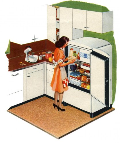 Housewife Opening Refrigerator In Kitchen Of 1940S Home Wall Mural - 52 Inches H X 43 Inches W - Peel And Stick Removable Graphic front-633383