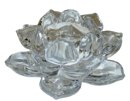 Biedermann & Sons Clear-Glass Lotus Tea-Light Candleholder