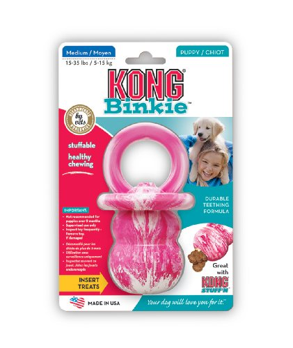 KONG Puppy Binkie Dog Toy, Medium (Colors Vary)