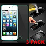 (3 Pack) Vale 0.3mm Ultra-thin Tempered Glass Screen Protector For Apple iPod Touch 5 5G 5th Gen Generation With 9H Hardness/Perfect Anti-scratch/Fingerprint & Water & Oil Resistant