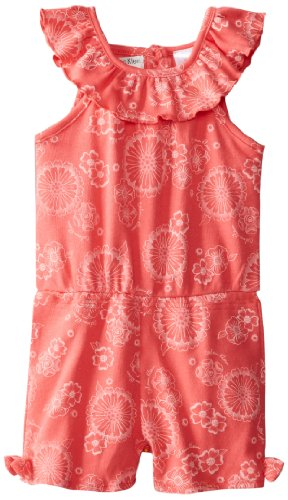 Calvin Klein Little Girls' Romper With Headband, Coral, 2T front-483829