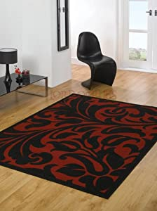 """Very Large Modern Red & Black Colour Rug 180 x 250 cm (5'11"""" x 8'2"""") Carpet by Lord of Rugs"""
